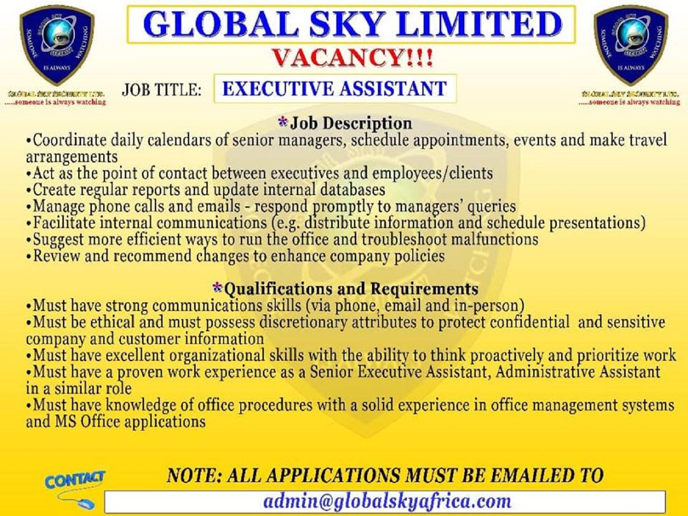 JOB VACANCIES, APPLY NOW!!! - Globalskyafricaonline com